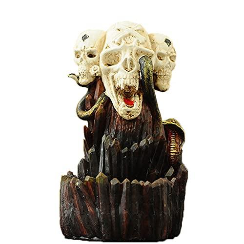 GDYJP Muebles para el hogar Halloween Spoof Skull Backflow Incienso Quemador Nórdico Resina Artesanías para la decoración del hogar Aromaterapia Relajación Regalos (Tamaño : Smoke Incense Burner)