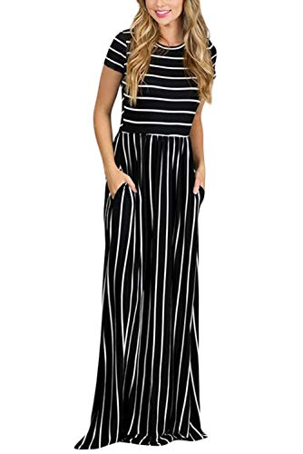 HOTAPEI Women's Summer Casual Loose Long Dress Short Sleeve Pocket Maxi Dress Black and White Striped Medium