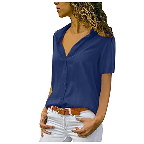 Camicetta Top Donna Moda Solido t-Shirt Ufficio Donna Tinta Unita Manica Corta (M,1blu)
