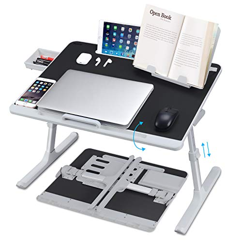 Laptop Desk for Bed, NEARPOW XXL Bed Table Bed Desk for Laptop and Writing, Adjustable Computer Tray Laptop Stand for Bed or Sofa with Anti-slip Leather, Removable Stopper, Book Stand and Drawer-Black