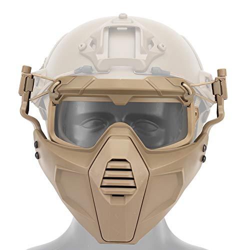 Huenco Máscara Protectora táctica con Gafas extraíbles Casco RÁPIDO Montar Airsoft Paintball Máscara de Halloween Fiesta Cosplay Accesorios de película