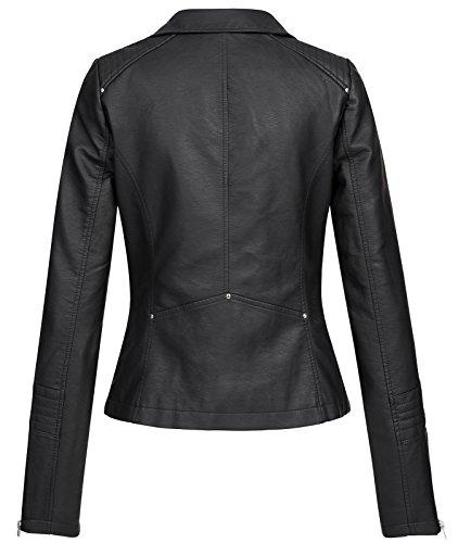 Only ONLGEMMA Faux Leather Biker OTW Noos Chaqueta, Negro (Black Black), 38 para Mujer
