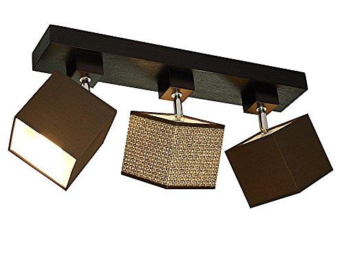 Plafonnier design Vigo-007C - Culot 53 cm - Plaqué chêne - 3 ampoules - Orientable - Convient pour ampoule LED au format standard E27 - Couleur : marron/herbe chinoise