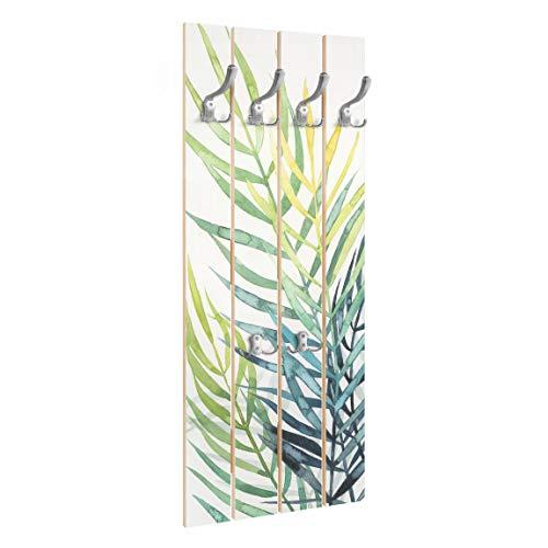Bilderwelten Perchero de Madera Tropical Foliage - Palm Tree - Ganchos cromados 100x40 cm