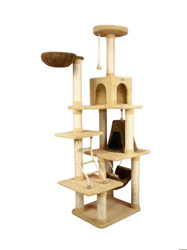 Armarkat Riesiger Kratzbaum X7805 Farbe Goldrute mit Katzenleiter, Katzenhöhle und Liegemulde