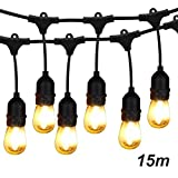 Outdoor String Lights LED, BRIMAX 48ft Heavy Duty Commercial Grade IP65 Waterproof String Lights,15 E27 Sockets, 16 LED Bulbs (2W Warm White),Weatherproof Garden lights for Patio,Backyard,Cafe,Wedding