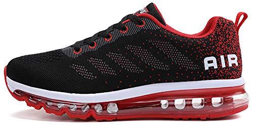 tqgold Sportschuhe Herren Damen Laufschuhe Turnschuhe Sneakers Leichte Schuhe (Schwarz Rot,47 Größe)