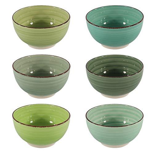 CREOFANT Set di 6 ciotole per cereali, ciotole colorate, ciotole per frutta, zuppa, insalata, gelato, Ramenbowl, ciotola in ceramica verde
