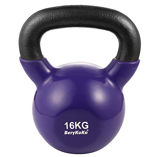 BeryKoKoケトルベル(色:パープル 16kg) コーティング エクササイズ 正規品/18月保証 4kg/6kg/8kg/10kg/12kg/16kg/20kg/24kg 体幹トレーニング 筋トレ 筋力トレーニング シェイプアップ [c] 16kg(パ