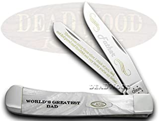 CASE XX World Greatest Dad White Pearl Limited Edition Trapper Pocket Knife Knives