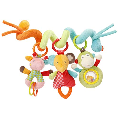 Fehn 074451 Activity-Spirale Safari – Stoff-Spirale zum Greifen und Fühlen für Bett, Kinderwagen, Laufgitter anpassbar – Für Babys und Kleinkindern ab 0+ Monaten – Maße: 30cm lang