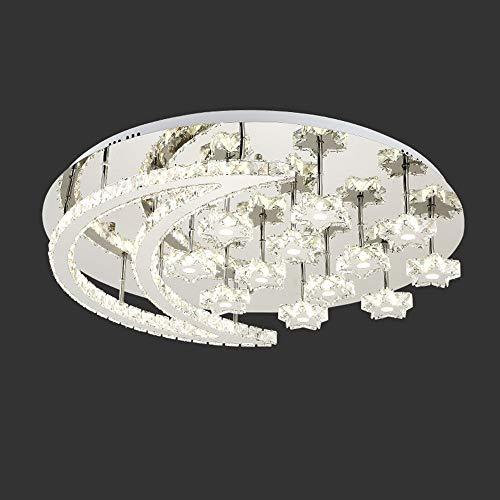 XiaoDong1 LED de Cristal de Plata Estrellas Luna Lámpara de Techo 3 Colores Blanco Natural Luz cálida Araña de Acero Inoxidable Villa Hotel Comedor Sala de Estar Dormitorio Lujo