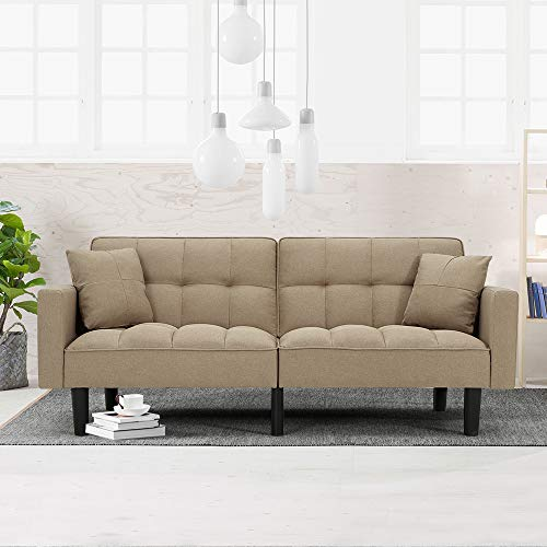 HOMHUM Modern Linen Convertible Futon Sofa Bed Folding Couch Recliner Adjustable Back with Arm Set for Living Room, Beige