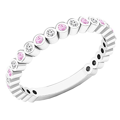 DazzlingRock Collection - Alianza apilable para mujer, oro blanco de 18 K, zafiro rosa redondo y diamante (tamaño 9,5)