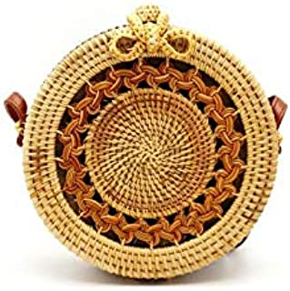 Rattan Bag for Women Round Crossbody Handwork Straw Bags with Weave and Lining