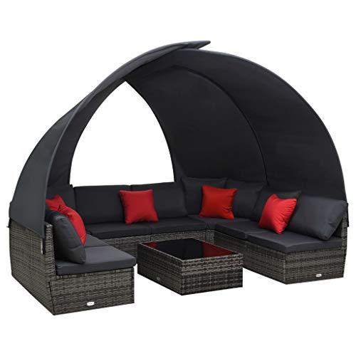 vidaXL Gartenmöbel 9-TLG. mit Sonnendach Lounge Sitzgruppe Sitzgarnitur Sofa Gartenset Garten Garnitur Gartensofa Poly Rattan Anthrazit