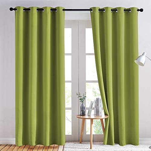 NICETOWN Green Blackout Draperies Curtains - Window Treatment Thermal Insulated Solid Grommet Blackout Curtains/Drapes for Holiday Decor (Set of 2, 52 by 84 Inch, Fresh Green)