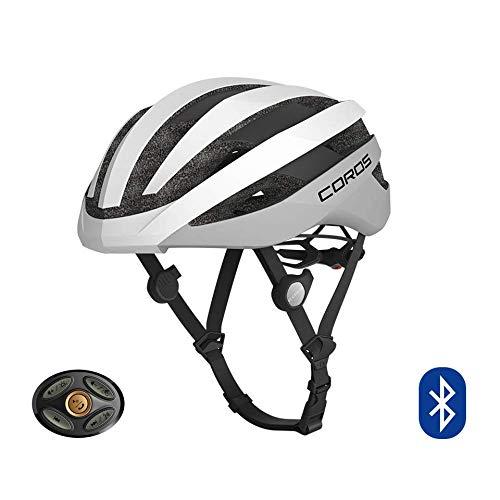 COROS SafeSound - Sistema de sonido para casco de ciclismo con sistema de apertura de orejas, llamadas de teléfono con música Bluetooth, control remoto inteligente, ligero, blanco mate, S (51-55CM)