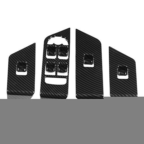 Hlyjoon 4 Pcs Fibra de Carbono Marco de Interruptor de Elevación de Vidrio, Izquierda Panel de la Ventana de Interruptor el Marco para Range Rover Evoque 2012 2013 2014 2015 2016 2017