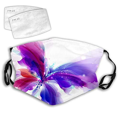Mouth Protective Abstract Butterfly with Blue Purple and Cyan Anti-Dust Filter Washable Reusable Windproof Women Men Youth