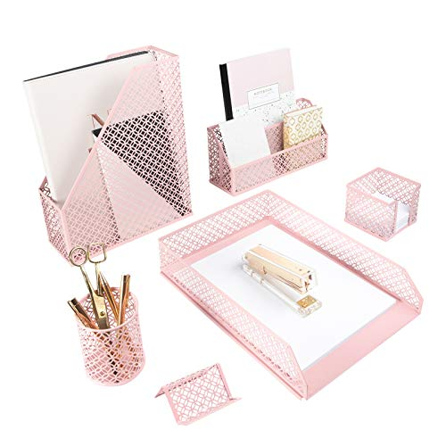 Blu Monaco Office Supplies Pink Desk Accessories for Women-6 Piece Desk Organizer Set-Mail Sorter, Sticky Note Holder, Pen Cup, Magazine Holder, Letter Tray, and business card holder-Pink Room Decor for Women and Teen Girls