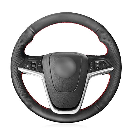 HCDSWSN Schwarzes Kunstleder-Lenkradbezug für Opel Mokka 2013-2016 Opel Insignia 2009-2013 Astra J 2010-2015 Meriva