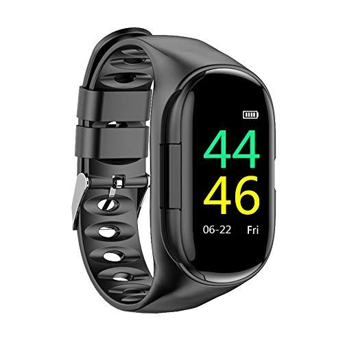 Docooler Reloj Inteligente 2 en 1 con Auriculares TWS RastreadorAuriculares inalámbricosde Actividad Pulsera Inteligente a Prueba de Agua Banda para la muñeca Frecuencia cardíaca Monitor