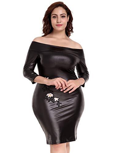 ohyeahgirl Damen Flexibel Wetlook Leder Reißverschluss Clubwear Nachtclub Stripper Minikleid Rückenfreie Clubwear Outfit Siamese (Knielang,Schwarz,3XL/ 44EU 46EU)