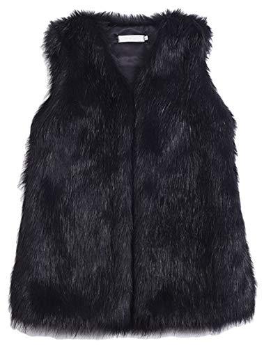 Youhan Women's Faux Fur Vest Coat Sleeveless Jacket (Large, Black)