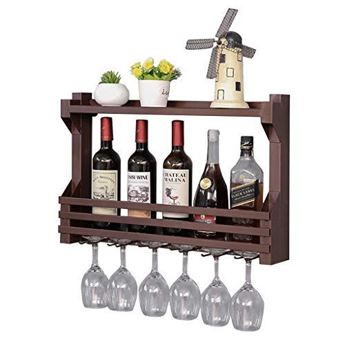 WWZWJ Botellero montado en la pared, con 6 soportes de vidrio de patas largas, hierro forjado de doble capa, estante de almacenamiento de vino para restaurante/bar (tamaño: 60 cm)