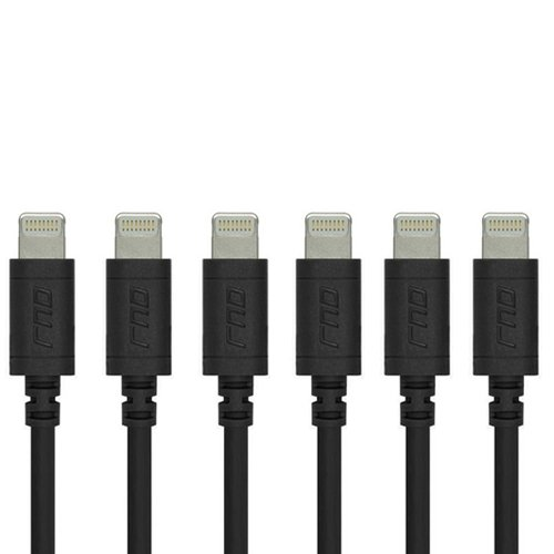RND Apple Certified Lightning USB 6ft Cable (6-Pack) for iPhone (XS, XS Max, XR, X, 8, 8 Plus, 7, 7 Plus, 6, 6 Plus, 6S, 6S Plus) iPad (Pro, Air, Mini) and iPod (6 feet/Black)