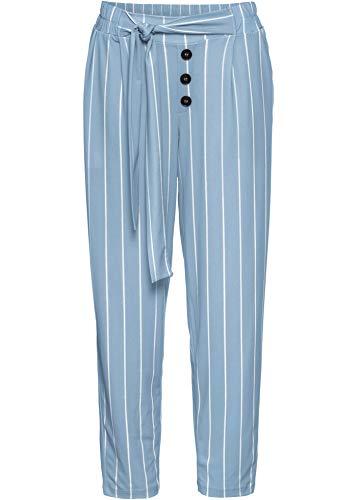 bonprix Sweathose mit hohem Bund Jeansblau/weiß gestreift lang 44/46 für Damen