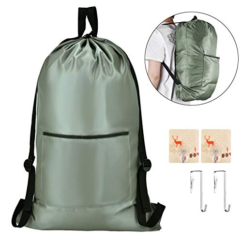 OTraki Laundry Backpack Hamper 30 x 20 inch Hanging Laundry Bags with Heavy Duty Shoulder Strap Tear Resistant Dirty Handle Clothes Storage Drawstring Organizer for Travel College Dorm Gym Backpacking
