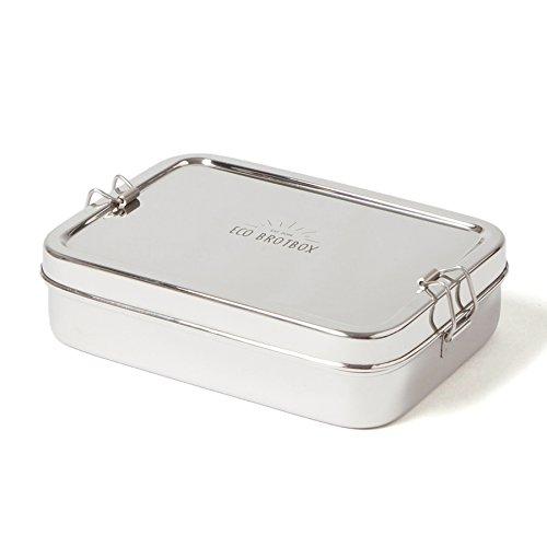 ECO Brotbox | Brotbox XL | rechteckige Brotdose + Snackbox aus Edelstahl | 700 ml