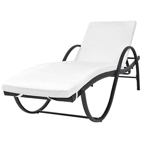 vidaXL Chaise Longue avec Coussin Transat de Patio Bain de Soleil de Jardin Chaise Longue d'Extérieur Terrasse Plage Résine Tressée Noir