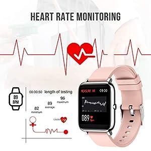 Motast Smartwatch, Fitnessuhr Damen Herren 1.4 Zoll Fitness Tracker mit Pulsmesser und Schlafanalyse, Schrittzähler Stoppuhr Atemtraining, Kamerasteuerung, Sport Armbanduhr für iOS Android Handy Rosa