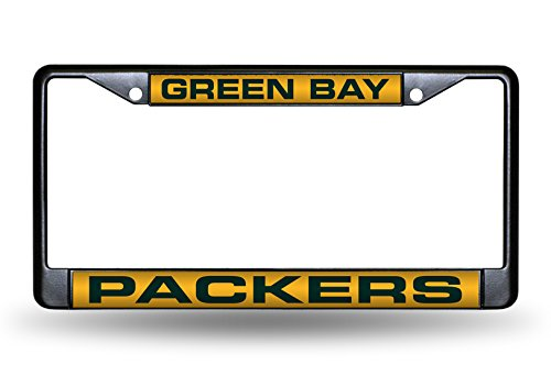 NFL Rico Industries Laser Cut Inlaid Standard Chrome License Plate Frame, Green Bay Packers