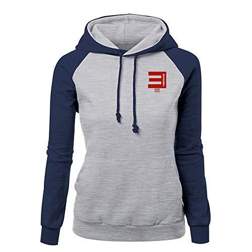 Eminem Pullover Herbst-Frauen Einfaches Sweatshirt Langarm Damen Patchwork PulloverHoodie Tops Unisex (Color : Blue10, Size : S)
