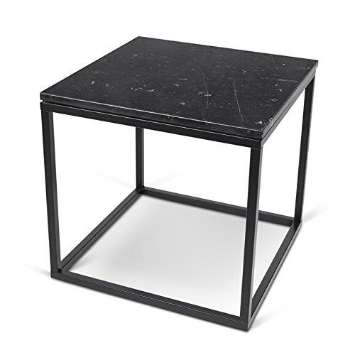 Paris Prix - Temahome - Table D'appoint 50cm Prairie Marbre Noir & Métal Noir