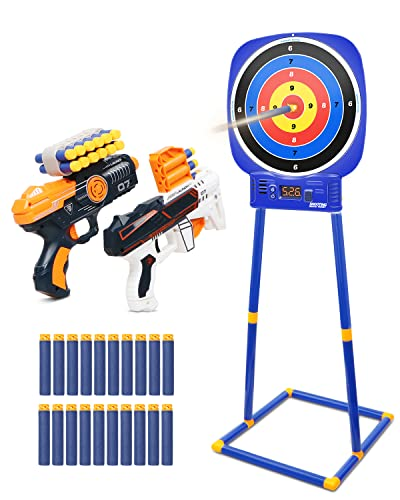 Shooting Game Toys for Kids Age 4-7 8-12, Round Digital Shooting Target Electronic Scoring Board Games with Foam Dart Blaster Shooting Toy, Birthday Christmas Gifts for 5 6 7 8 9 10+ Years Old Boys