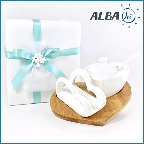 Albalù Bomboniere Zuccheriera + Portatovaglioli Cuori Ceramica Bianca