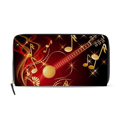 Ahomy Damen PU Leder Geldbörse Portemonnaie Gitarre und Musiknoten Lange Clutch Tasche mit Kreditkartenfächern