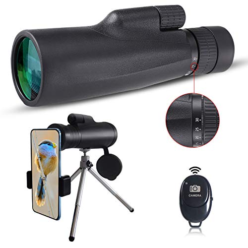 10-30x50 High Power Monocular Telescope, Adjustable Magnification, with Camera Remote Control,Smartphone Holder, Metal Tripod, FMC Coating, BAK4 Prism, Waterproof and Anti-fogging.