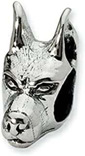 Reflections Sterling Silver Doberman Pinscher Head Bead/Charm