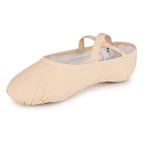 Bezioner Girls Canvas Ballet Shoes Ballet Slipper for Kids Women Yoga Shoes for Dancing-Ballet Pink (Size 5.5 Adult)