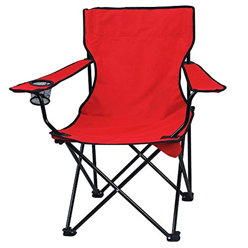 PRIFRA Camping Chair, Outdoor Lawn Folding Beach Chair with a Small Cup Holder Comfortable Armrests and Storage Bag