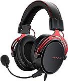 Mpow Air SE Auriculares Gaming para PS4/PC/Xbox One/Switch/Mac, Auriculares para Juegos con 3D Sonido Envolvente, 3.5mm USB Jack Cascos con micrófono cancelación de Ruido, Material de Metal Rojo