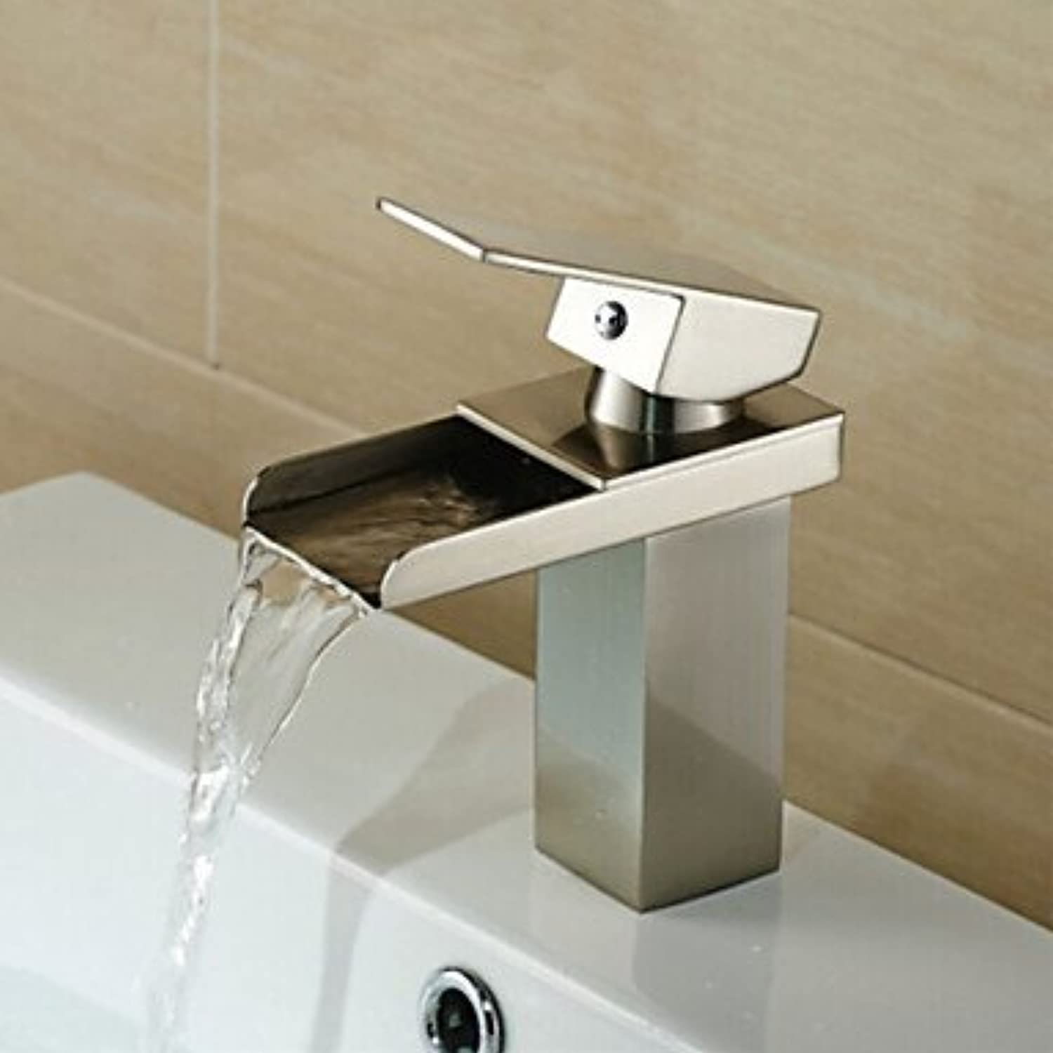 AA Faucet£? Waterfall Nickel Brushed Hot and Cold Bathroom Faucet
