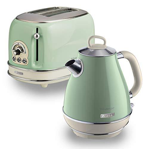 Ariete ARPK2 Retro Style Jug Kettle and 2 Slice Toaster Set, Vintage Design, Green