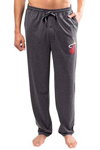 Ultra Game NBA Miami Heat Mens Sleepwear Super Soft Pajama Loungewear Pants, Heather Gray, Medium